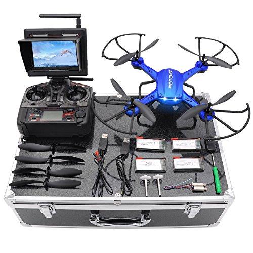 Potensic Drone HD con Custodia per Trasporto ,Drone RC FPV Funzione di Stepless-speed,3D Flips, Fotocamera HD 2MP , FPV LCD Monitore a Schermo da 5.8Ghz - Blu