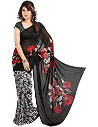 Heena Creation Black & Red Floral Print Georgette Saree With Blouse Piece