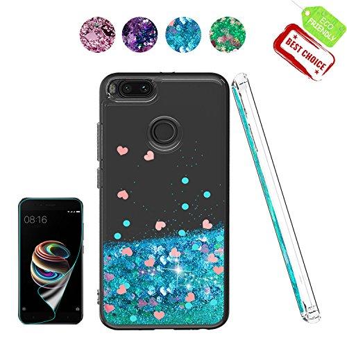 Atump Funda Xiaomi Mi 5X / Mi A1, 5X / Mi A1 Glitter Fundas Líquido Silicona TPU de la Mujer Fundas de teléfono + Protector de Pantalla HD para teléfonos móviles Xiaomi Mi 5X / Mi A1 Azul