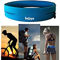 Safeyo Running Belt Fitness Belt Flip Waist Belt with Key Clip for Gym Workouts, Exercise, Cycling, Walking, Jogging, Yoga, Sport, Travel & Outdoor Activities