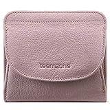 Geldbörse Damen Klein Leder RFID Schutz mit Münzfach Mini Portemonnaie Portmonee Brieftasche Frauen Geldbeutel Flache TEEMZONE(Rosa)