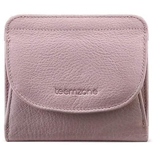 Klein Leder (Geldbörse Damen Klein Leder RFID Schutz mit Münzfach Mini Portemonnaie Portmonee Brieftasche Frauen Geldbeutel Flache TEEMZONE(Rosa))