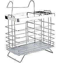 Portable bacchette gabbia posate cucchiaio Storage Box Cucina Rack scoli Organizzatore (Rectangle Type) - Argento