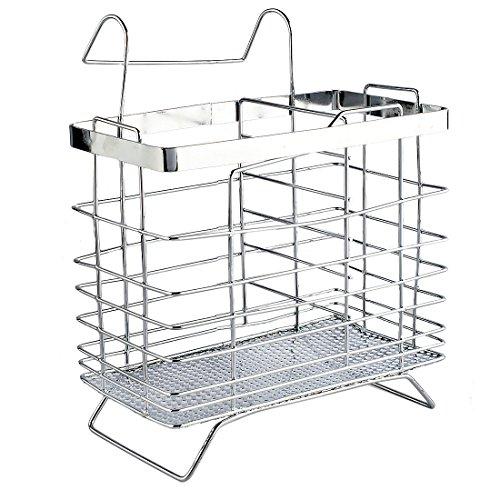 Porta utensili, Foxom posate cucchiaio Holder supporto scolapiatti posate utensile da cucina 15x9x12.5cm Silver(Rectangle Type)