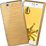 moex Sony Xperia Z | Hülle Silikon Gold Brushed Back-Cover TPU Schutzhülle Ultra-Slim Handyhülle für Sony Xperia Z Case Dünn Silikonhülle Rückseite Tasche