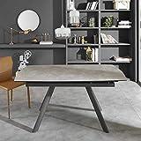 Pharao24 Ausziehbarer Tisch mit Grauer Glasplatte Metall