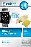 Ecultor I 6x Schutzfolie klar passend für Pebble Steel Folie Bildschirmschutzfolie