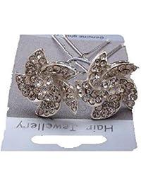 Pair of Genuine Glass Crystal Swirl Flower Design Hair Pins Jewels