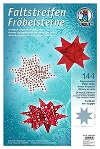 Papier Froebel pliable pour Advent Etoiles 10 x 50 cm/90–120 g/m ²/Noël/144 feuilles