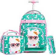 Rolling Backpack for Girls Backpacks with Wheels Wheeled Laptop School Bag 19 inch Travel Trip Luggage