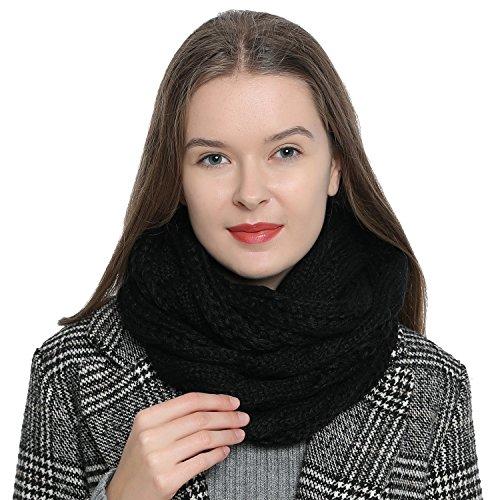 Dondon sciarpa tubo invernale in maglia da donna caldo e morbido loop tube - nero