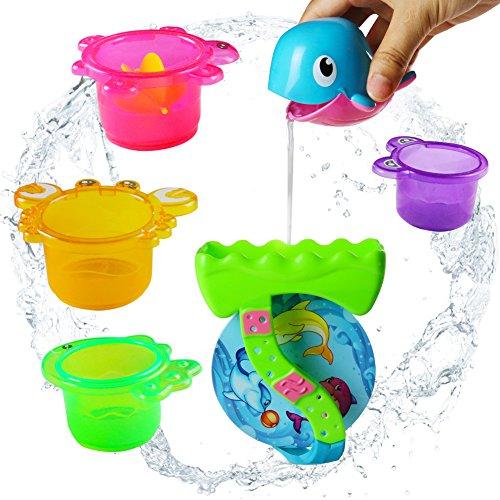 yoptote Kinder badespielzeug Delphin Badetier Wasserrad mit Becher und Saugnöpfe ,Farbe Mag Sich Unterscheiden