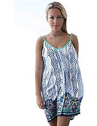 Haroty Mini Cortos Vestidos Halter Flecos Faldas Estampado Ancho Loose para Mujeres Verano Playa