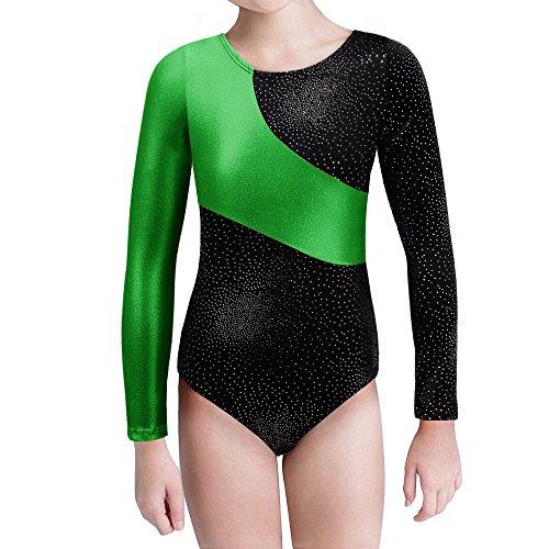 Kidsparadisy Mädchen Gymnastik-Turnanzug Tanzkleidung Lange Ärmel Regenbogen Streifen zum 2-15 Jahre (Green, 120(4-5T))