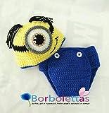 Disfraz para Sesión de Fotos, de Minnion, Talla Única 0-3 meses. Handmade. Crochet. España
