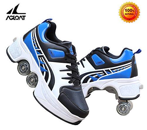 unbrand Inline Skates Kinder Erwachsene Inliner 2in1 | Verstellbare Schlittschuhe | Triskates Größenverstellbar ABEC7 Lager | Rollschuhe,Blue-35