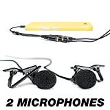 2x Lavalier Lapel Microphones and Microphone audio splitter/y-connector for iPhone/smartphones| Amazing set in a Deluxe box for Youtube Interviews| Plug 2 mics into 1 smartphone
