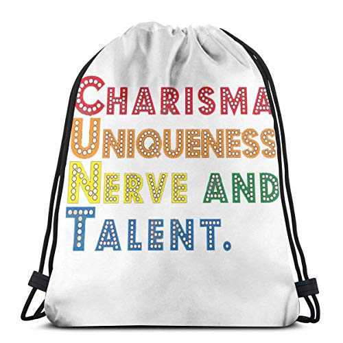 Integrity merchant Charisma Uniqueness Nerve and Talent Drag Race Drawstring Backpack Bag Lightweight Gym Travel Yoga Casual Snackpack Shoulder Bag for Hiking Swimming Beach -