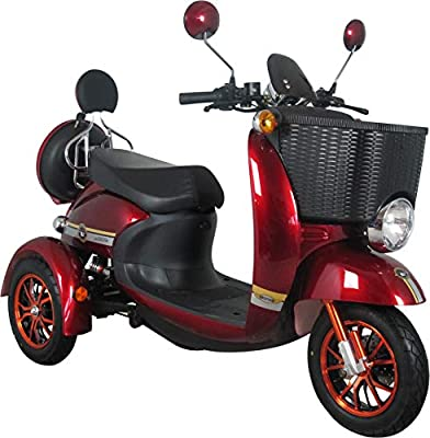 Electric Mobility Scooter Red 3 Wheeled Retro Style with Front Basket 500W 60V100ah - GreenPower