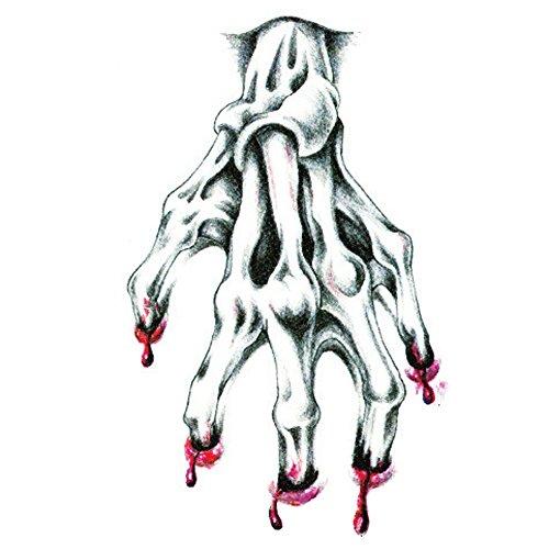 EROSPA® Tattoo-Bogen Blutige Hand Knochen Skelett gruselig temporär Halloween Aufkleber Körperkunst abziehbar Temporary Karneval Fasching Scary