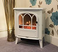 Classic Metal Electric Fireplace - With Realistic Flickering Glow Effect Logs - Includes 1.9m Cable And Fitted BS Plug, 220-240V50Hz
