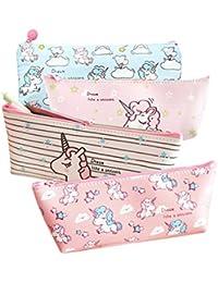 Lurrose 4 unicornio bolsas de maquillaje bolsas de lápices papelería bolígrafos para bebés ...