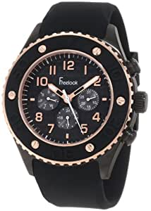 Freelook Homme HA9058RG-1 Black Chronographe Dial Rose Gold Black Silicone Bezel And Black Case Montre