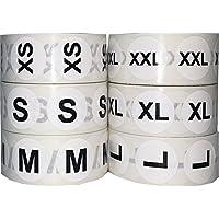 Blanco Circulo Talla de Ropa Pegatinas Paquete, 19 mm 3/4 Pulgada Redondo, Incluye 1 rollo de XS, S, M, L, XL y XXL, 500 Etiquetas Totales por Tamaño