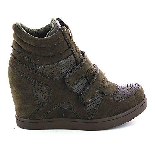 Baskets mode compensées bimatière urban - chaussures femme Vert