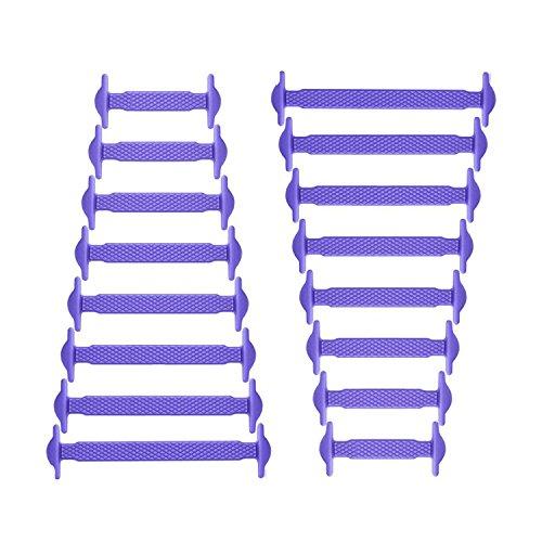 Joyshare No Tie Shoelaces für Kinder und Erwachsene Wasserdichte Silikon flache elastische Sportlauf Schnürsenkel mit Multicolor für Sneaker Stiefel Brettschuhe und Freizeitschuhe (Purple) - Purple Multi Schuhe