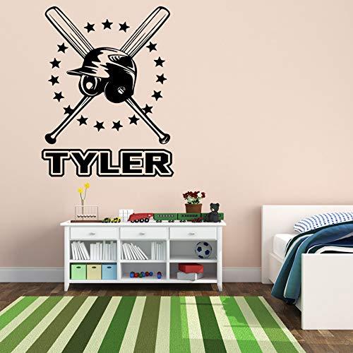 ONETOTOP Baseball Benutzerdefinierte Persönliche Namen Kreuz Fledermaus und Helm Wandaufkleber für Kinder Teen Schlafzimmer Kindergarten Vinly Decals Wohnzimmer 78x56 cm -