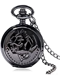 Black Fullmetal Alchemist Pocket Watch Vintage Small Size Pendant Watches Gift For Christmas P767