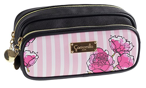 Doppel-zip-make-up-tasche (Kamille milano-busta Doppel Zip Stripe & Flower schwarz)