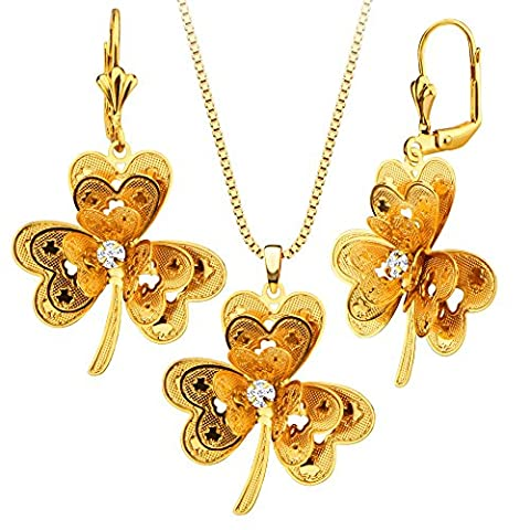 Three Leaf flower Cubic Zircon Necklace Earring Jewelry Set 18K Gold Plated Gift Party Charm Necklace Set For Women S20178