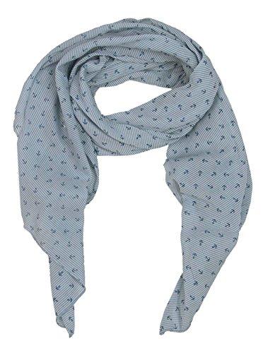 Zwillingsherz Seiden-Tuch mit Anker-Print - Hochwertiger Schal für Damen Mädchen - Halstuch - Umschlagstuch - Loop - weicher Schlauchschal für Sommer Herbst und Winter von Cashmere Dreams blau