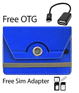 Blue Stylabs Tablet Book Flip Case Cover For Micromax Funbook Duo P310 (Universal) (Free OTG Cable & Sim Adapter)