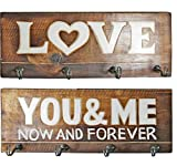 2er Set ~ Garderobe Schlüsselhaken Tuch-Halter ~ LOVE YOU AND ME ~ aus Mango-Holz ~ jeweils 40 x 14,5 cm