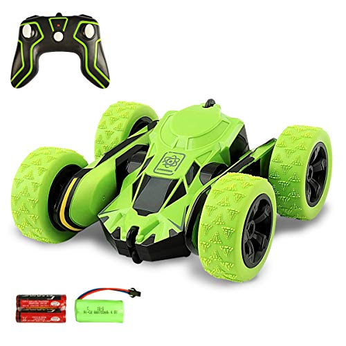 Estela RC Car, Electric RC Stunt Car 2WD Green Off Road Remote Control Vehicle 2.4GHz High Speed 7.5MPH 360 Degree Rolling Rotation with Batteries & Charging Cable