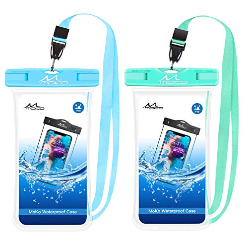 MoKo Bolsa Impermeable para Teléfono de 6.5', [2 PZS] Estancas Flotante Funda Universal con Correa para iPhone X/XS/XR/XS MAX, 8/7/6s Plus, Samsung S10/S9/S8 Plus, S10 e, Note 9/8 - Azul + Verde