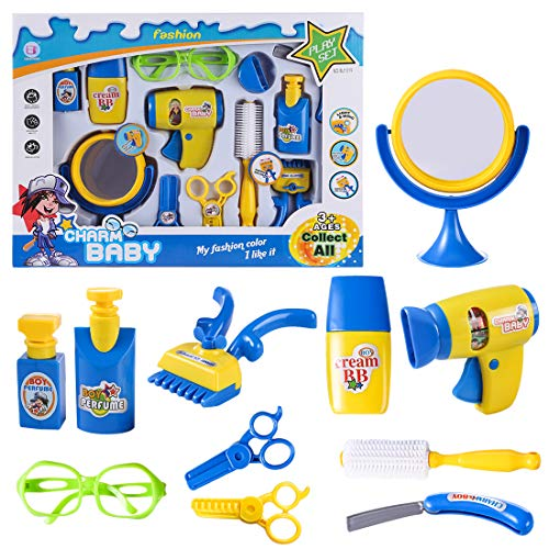 MRKE Friseur Spielzeug, 12er Friseurkoffer Kinder Spielzeug, Friseur Spiel Set mit Ton und Licht für Kinder