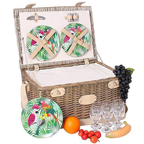 Les Jardins de la Comtesse - Picknickkorb Bel Air aus Weide - 6 Personen/Mit Kühlfach, Tellern aus Melamin und Weingläsern - cremefarbener Stoff - 50 x 36 x 27 cm