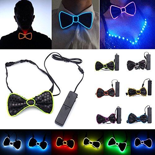 ACDGS Batteriebetriebene LED leuchten EL Mens Fliege Krawatte für Halloween-Hochzeitsfest DC3V ACDGS (Color : Color Green) (Ein El Malo Halloween)