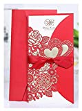 H & D 20rot Einladung Karten-Sets für Hochzeit Party Decor gratis Briefumschläge Dichtungen, Laser Blumen, Love Herz, Ribbion Decor