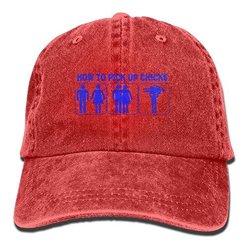 Hoswee Baseballmütze Hüte Kappe Adult How to Pick up Chicks Denim Baseball Hat Adjustable Trucker Cap