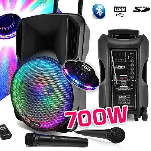 Lautsprecher, Sono, DJ, Party, Karaoke, 700 W, tragbar, mit Akku, 2 Mikrofonen, Disco Mobile 12 Zoll, LED, RGB USB/Micro SD/Bluetooth/FM-Radio + UFOO