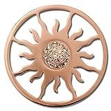 Amello Edelstahl Coin Sonnenblume rosegold Zirkonia weiß Stahlschmuck ESC533EE