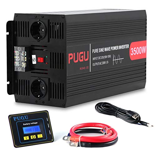 Hifeel Spannungswandler 3500W 7000 Watt 12V 230V Reiner Sinus Wechselrichter Inverter mit 3 Meter Fernbedienung und Kabel (3500W/7000W(Nicht LCD))