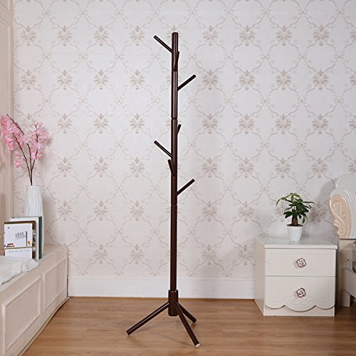 Schwarz Hall-baum (garwarm 8-hooks Creative Simplicity massiver Holz Boden Finish Diele stehend Coat Rack Hall Baum hat Aufhänger Halter mit Stativ Basis für Jacke Kleidung Schals Geldbörse schwarz)