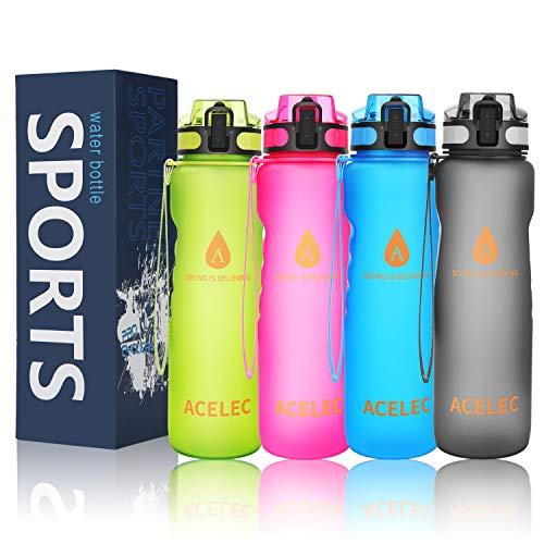 Wasserflasche Sport Wasserflasche 1L/36oz auslaufsicher BPA frei wiederverwendbare umweltfreundliche einfach tragen Sport Trinkflasche (Neue Version Rosa 1L) (Wiederverwendbare Kleine Wasserflaschen)