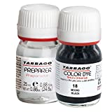 Tarrago Color Dye Double Teinture Colorante Cuir, Cuir Synthétique Et Textil Bouteille + Préparateur 25 millilitres Couleur Noir-18